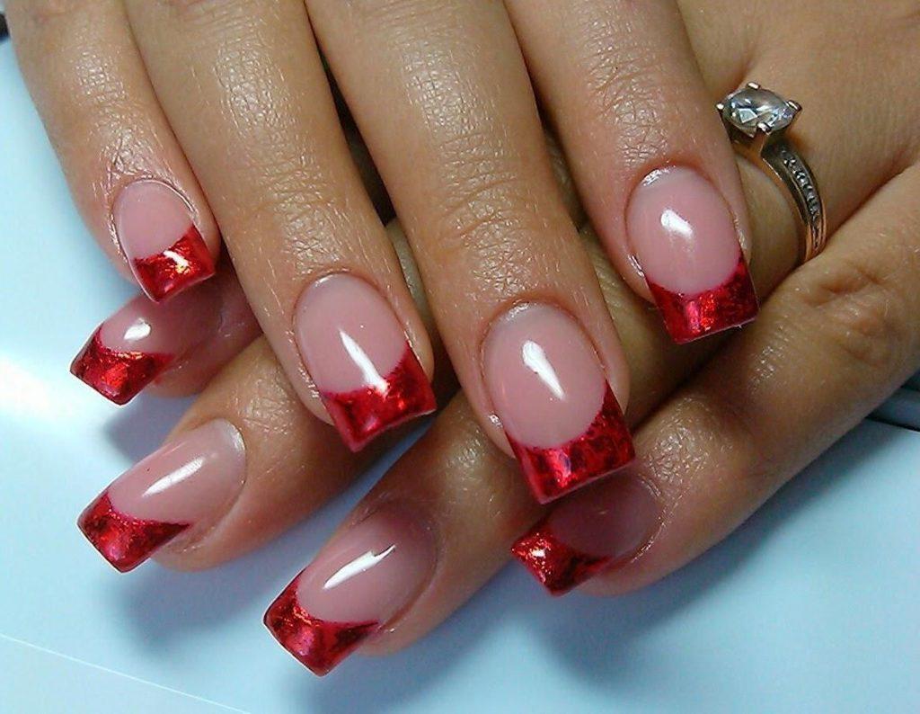 Фото ногти французский маникюр красный