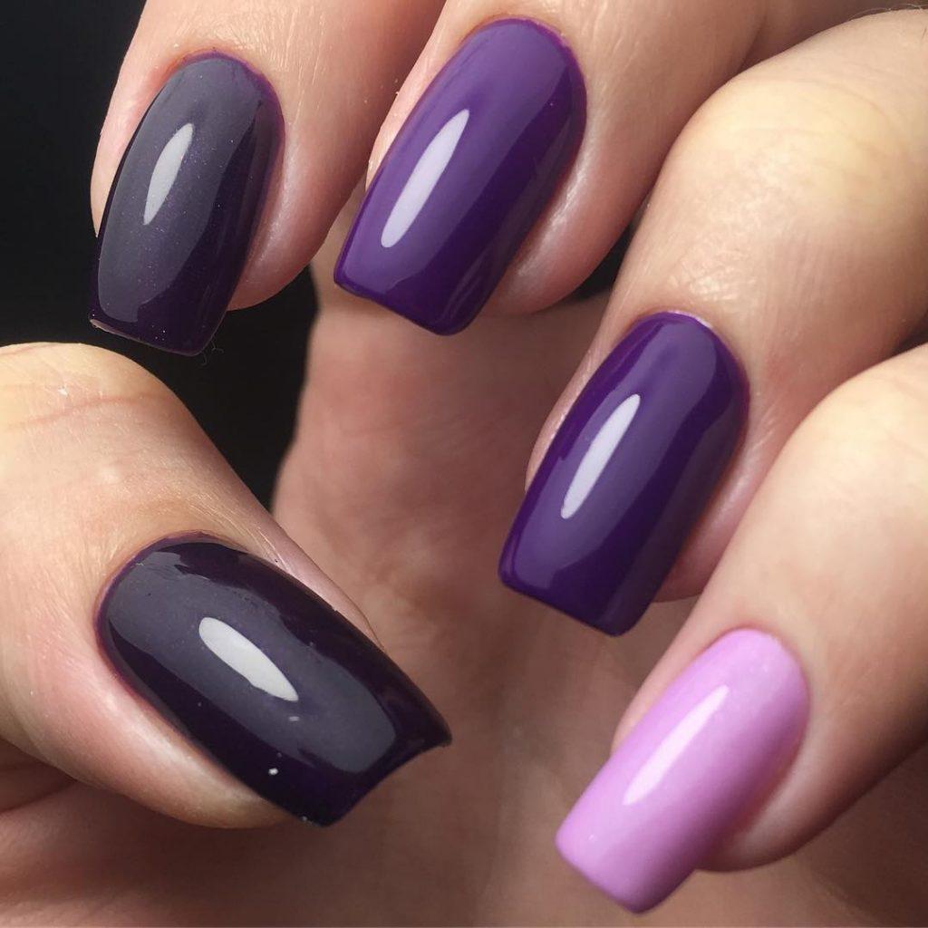 Фиолетово черный маникюр фото